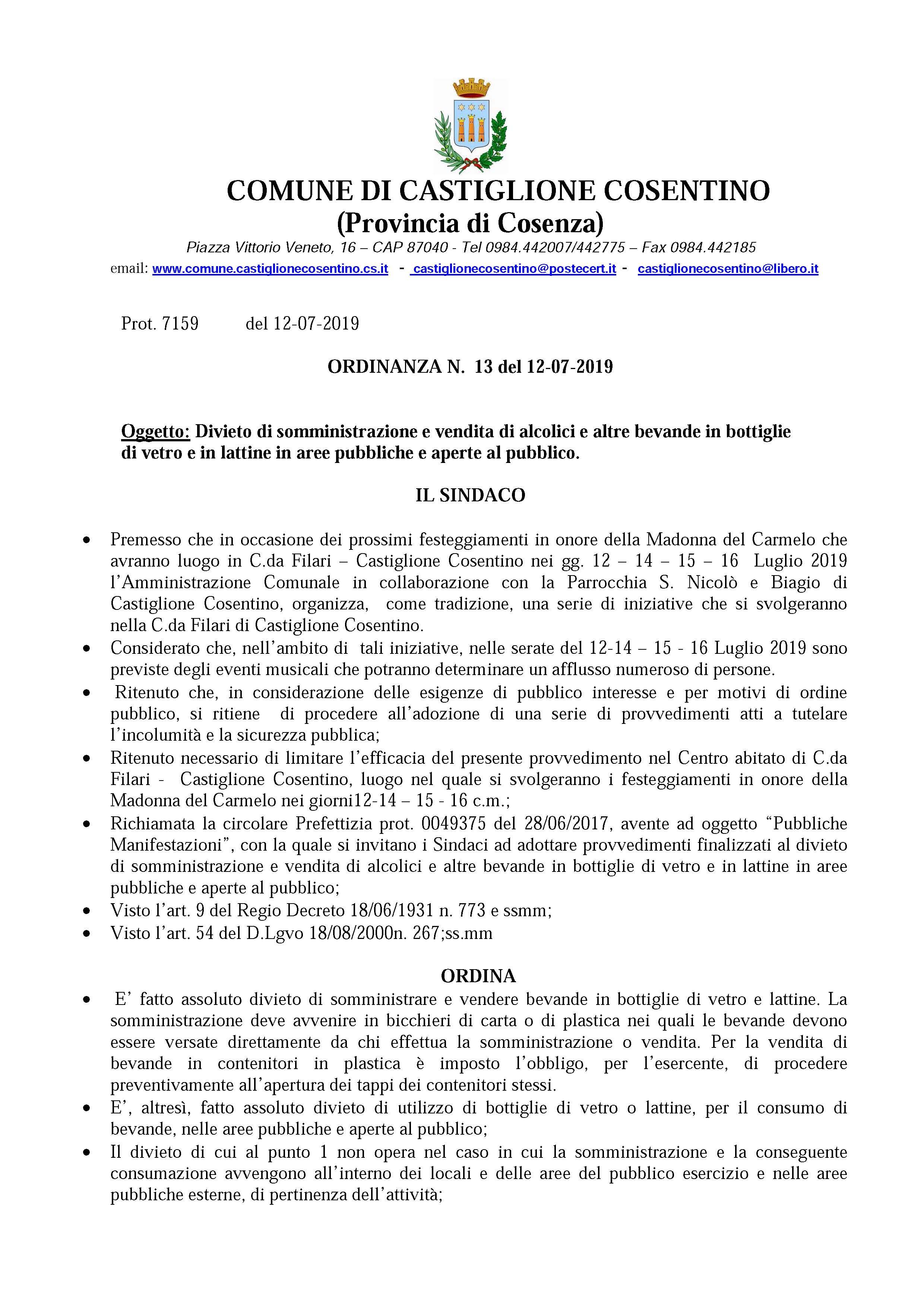 Ordinanza N°13 del 12.07.2019